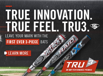 True innovation true feel. Tru3. Leave your mark with the first ever 3-piece bats